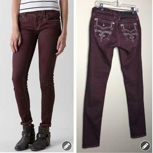 rock revival margie burgundy skinny jeans